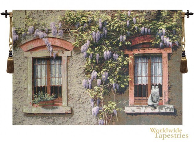 Windows with Wisteria  Cityscape Tapestries  Worldwide