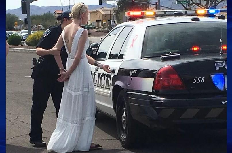 drunk bride arrested for