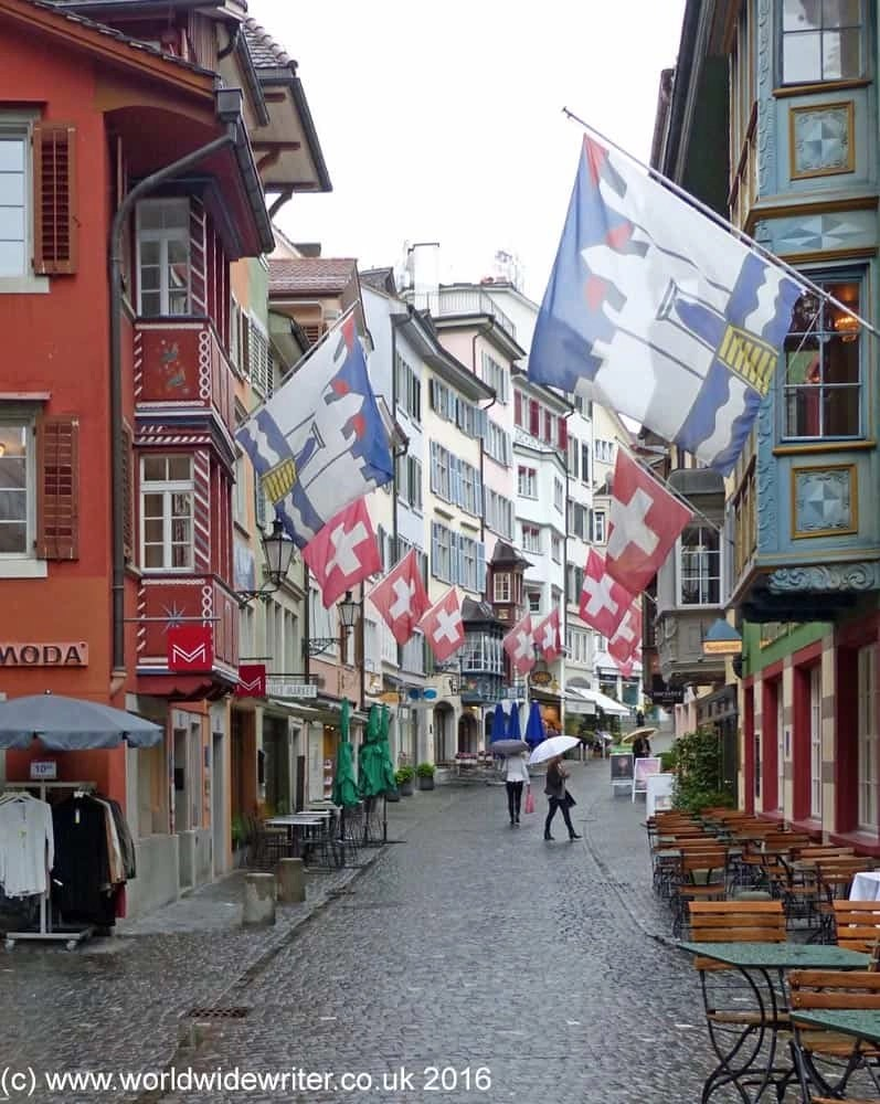 Flags in a Zurich street