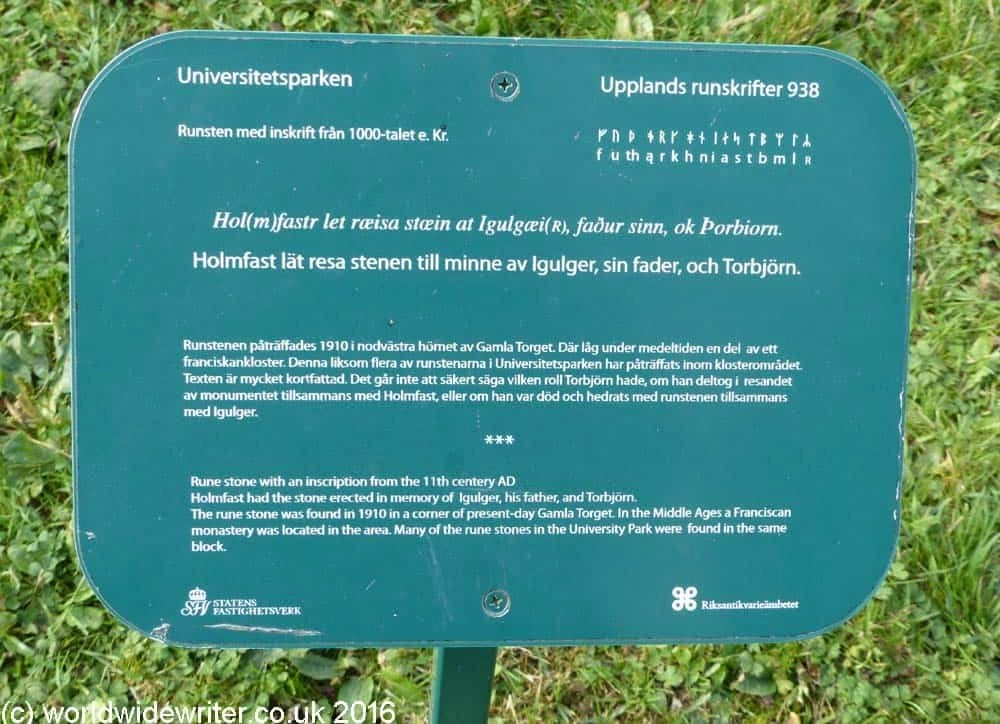 Rune stone information board in Uppsala