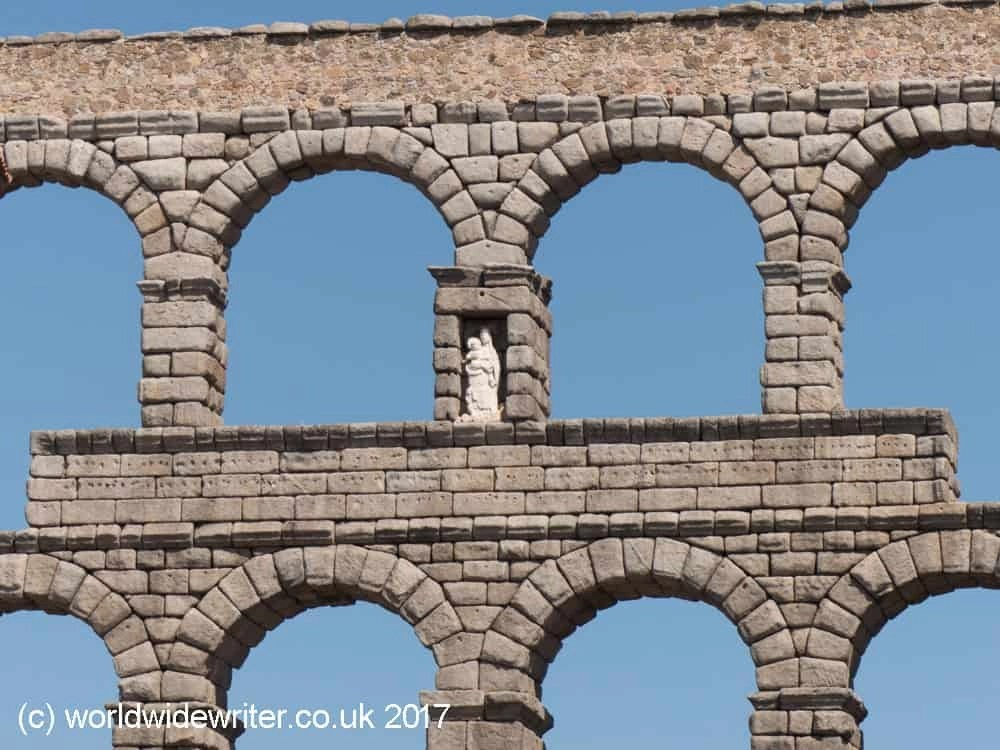 Statue of the Virgin, on the Roman Aqueduct of Segovia
