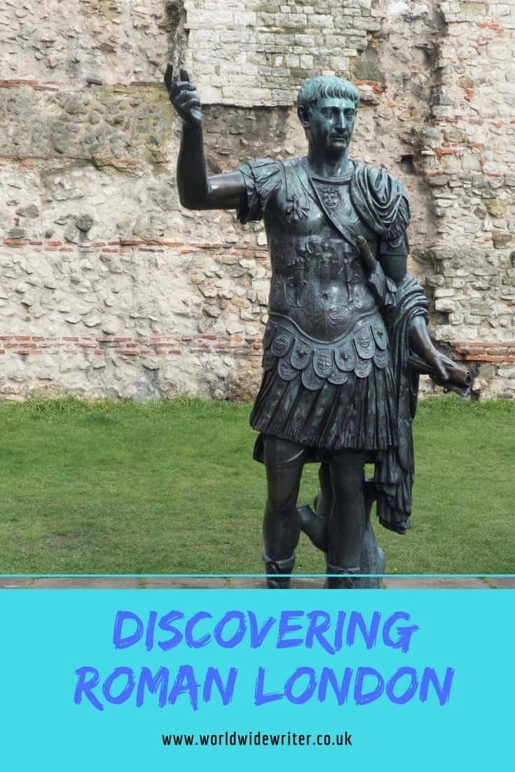 Emperor Trajan and Roman wall, London