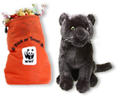 Black jaguar plush with Trick or Treat gift bag