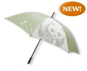 WWF green and white umbrella with panda logo