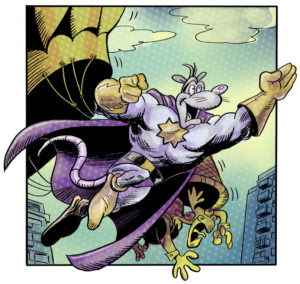 "Awesome Possum in action from ""Eye Eye Eye."" Colour by Tanya Lehoux."