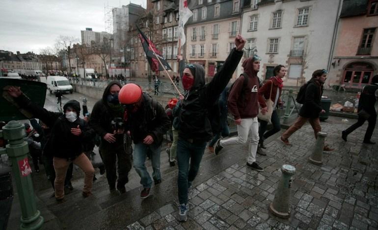31 Mars 2016: Dans toute la France et à Rennes, de nombreuses arrestations auront lieu.© Jérémie Verchere/Wostok Press