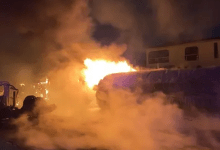Photo of Fire Razes Petrol Tank, Stationary Trucks In Lagos.