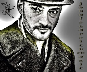 John Frederick promo picture - black and white wearing a hat with the label 'johnfrederickmusic.com' vertically on the right side