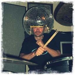 Kurt Gensheimer wearing an actual disco ball helmet.