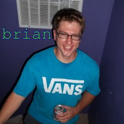 Brian, in a blue Vans t-shirt