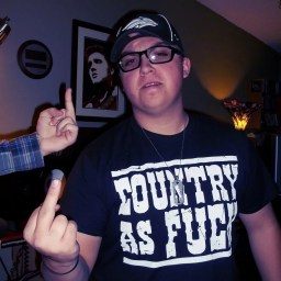 "Elijah Frandsen's hand flipping off Cody Sprague who is flipping off the camera in a ""Country as fuck"" t-shirt"