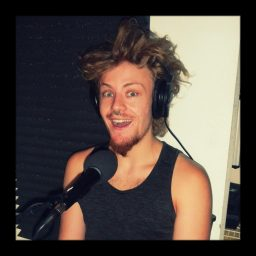 Clip being wide eyed with crazy hair being interviewed at Dogwater Studios in Reno Nevada.