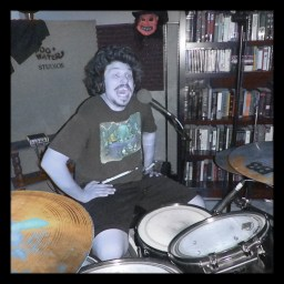 Zachy Ferox of Reno metal band Murderock being silly behind the drums at Dogwater Studios.