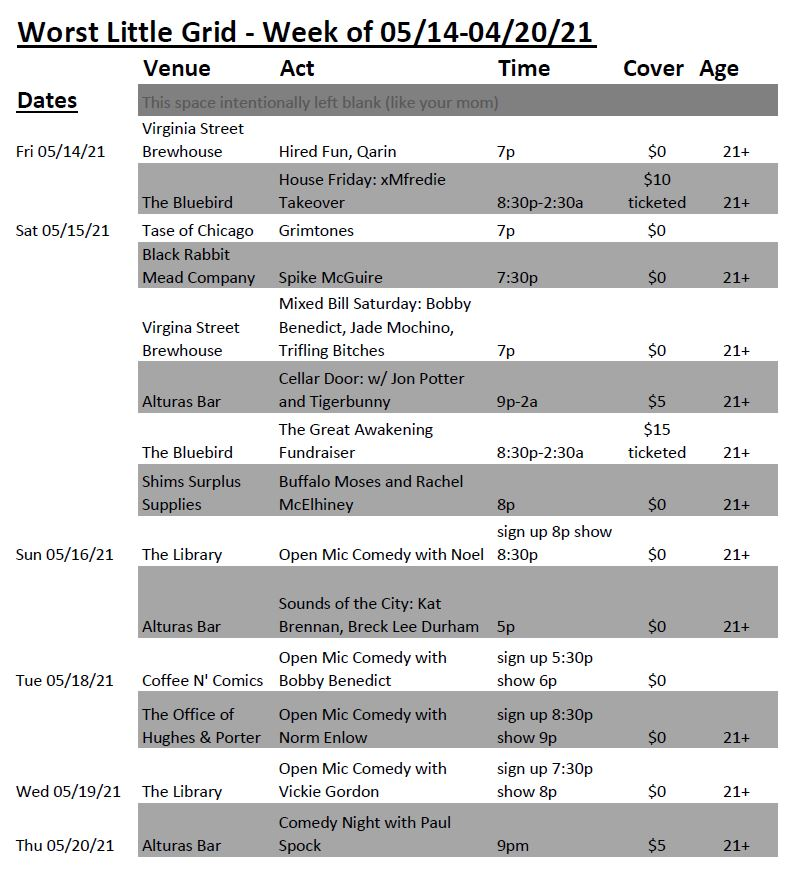 A graphic format of upcoming events