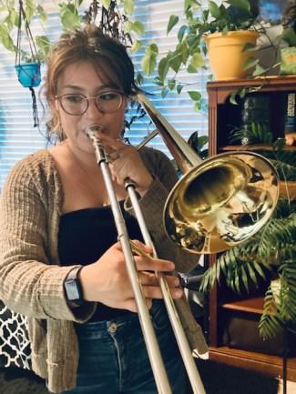 Kim on the trombone