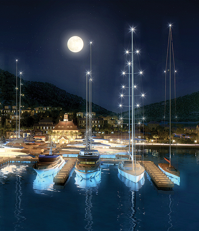 A rendering of the completed marina for Christophe Harbour