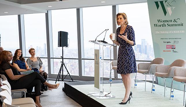 Sallie Krawcheck speaks at the 2019 Women & Worth summit in New York
