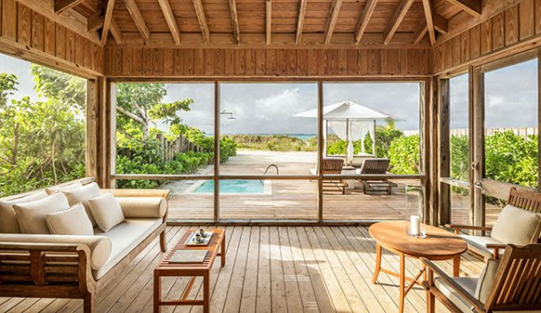 Beach villas at Como Parrot Cay include plunge pools and private access to the beach.