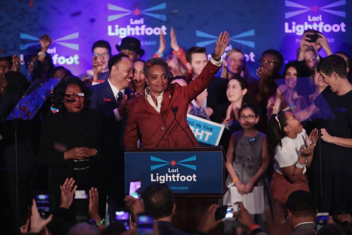 Lori Lightfoot celebrates after defeating Cook County Board president Toni Preckwinkle to become the next mayor of Chicago, April 2, 2019. Lightfoot will be the city's first black female mayor and first openly gay mayor. Photo by Scott Olson/Getty Images