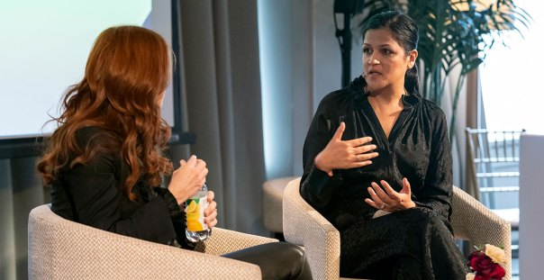 Anjali Kumar in conversation with Hint CEO and founder Kara Goldin at the Women and Worth Summit 2020.