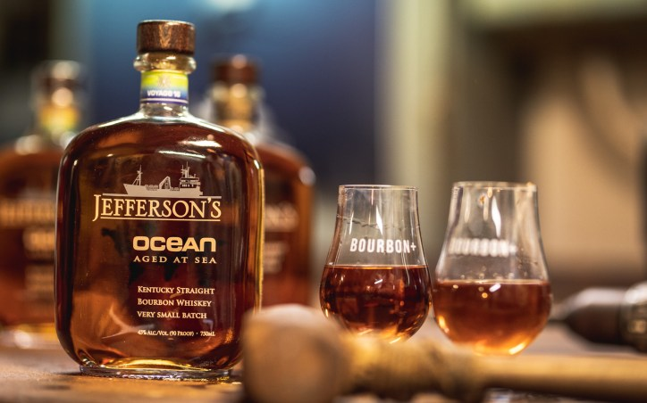 """Jefferson's """"Very Small Batch"""" Ocean is aged at sea aboard a marine exploration vessel. Photo courtesy of Jefferson's Ocean"""