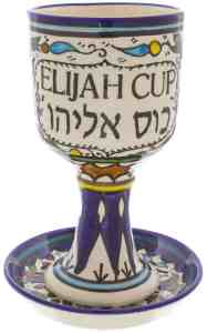 Armenian Ceramic Elijah Cup and Coaster, Colourful Grape Design