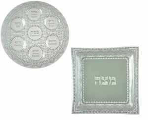Passover Seder Plate and Matzah Holder White
