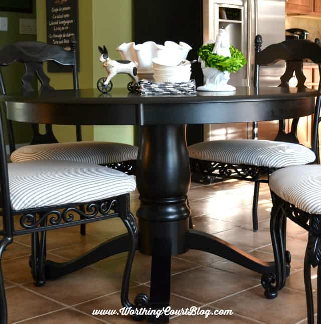Transform Kitchen Chairs With Spray Paint And A Little Fabric