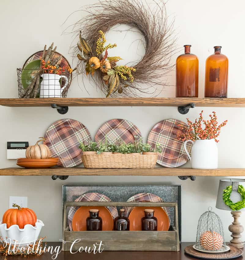 fall kitchen decor lowes delta faucets these are my most favorite shelves ever worthing court shelf decorating ideas for falldecor autumn