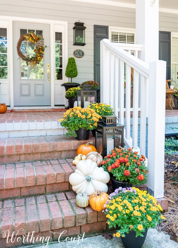 Inspiring Front Porch Decor Ideas For Fall Worthing Court | Front Porch Steps Designs | Porch Style | Beautiful Front | Front Entry Brick Stair | Outside | Outdoor Step