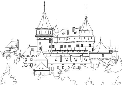 Schloss Malvorlage als Ausmalbild zum Ausdrucken