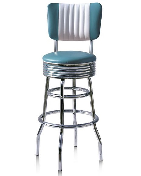 retro chrome chairs striped chair covers american 50s style diner bar stools | bs29cb stool - wotever