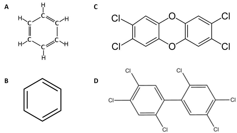 medium resolution of figure 4 11 examples of carcinogens disposed of in the love canal a and b are representations of benzene in a all of the atoms in benzene are shown
