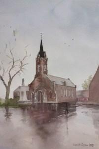 Church in Izier, Belgium on a rainy day