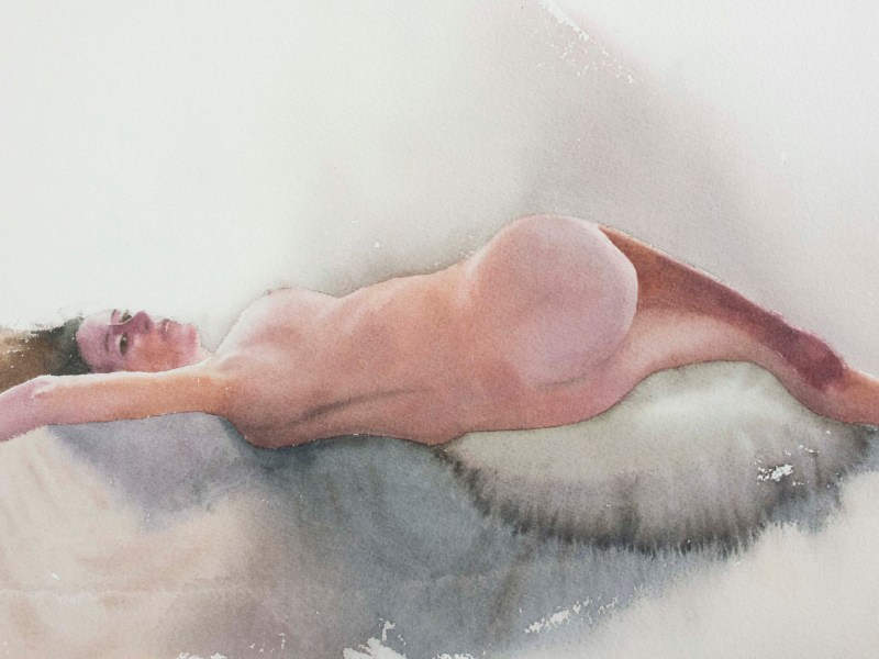 Figure study, Watercolor, 15 x 22 inch (38 x 56 cm).
