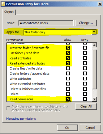 Permissions Authenticated Users