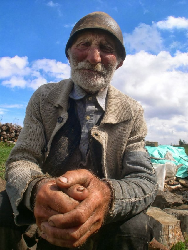 Iancu A, talking about life in the Second World War - photo by Caroline and taken from her amazing website Carparthian Sheep Walk