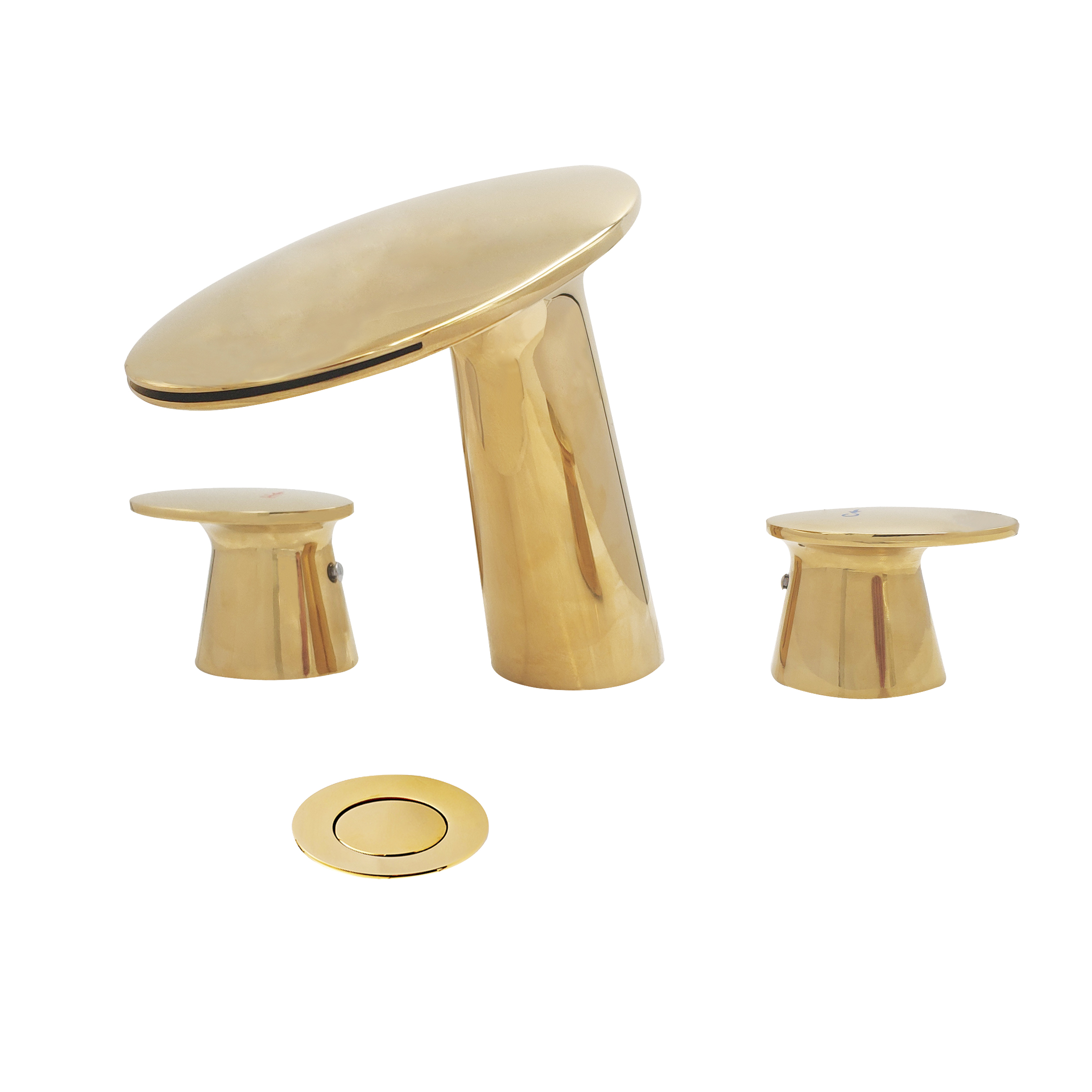 wovier w 8417 g widespread bathroom sink faucet gold two handle three hole