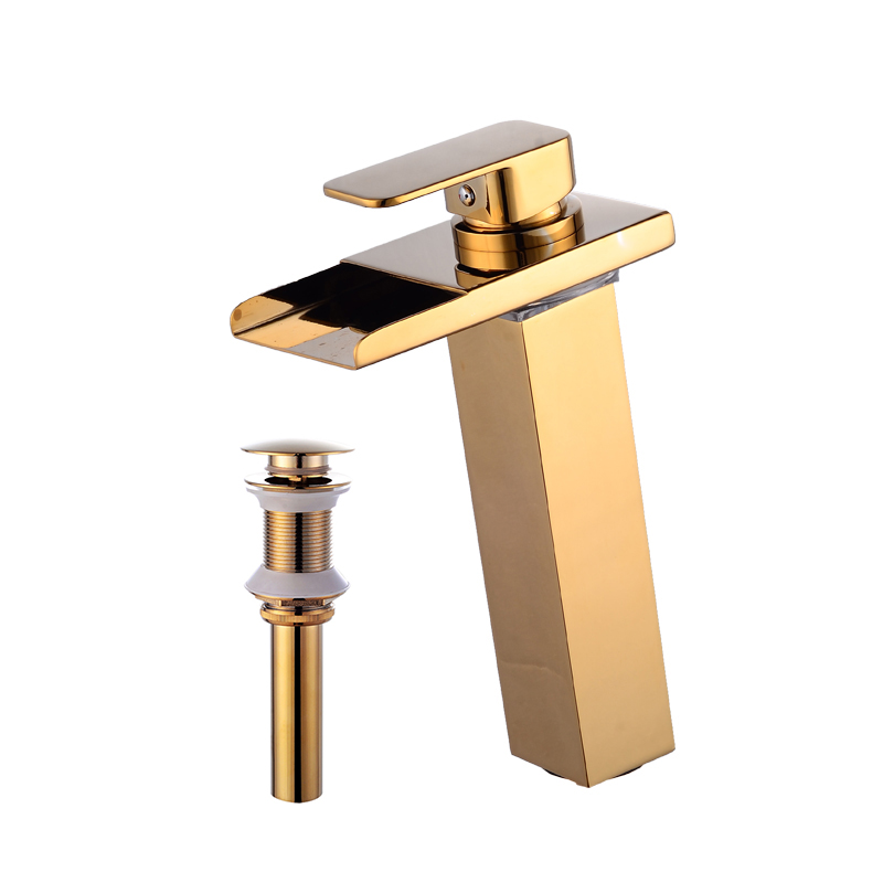 wovier w 8229l g led waterfall bathroom sink faucet gold tall body