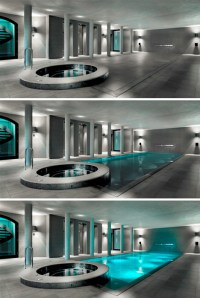 Huge Pool Turns into a Patio When No One is Swimming  Wow ...