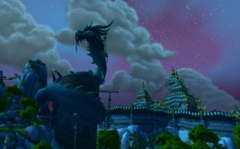 Paisagem noturna do Templo de Jade, na Serpente Jade
