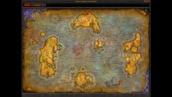 Mapa de Azeroth com a localização das Ilhas Partidas