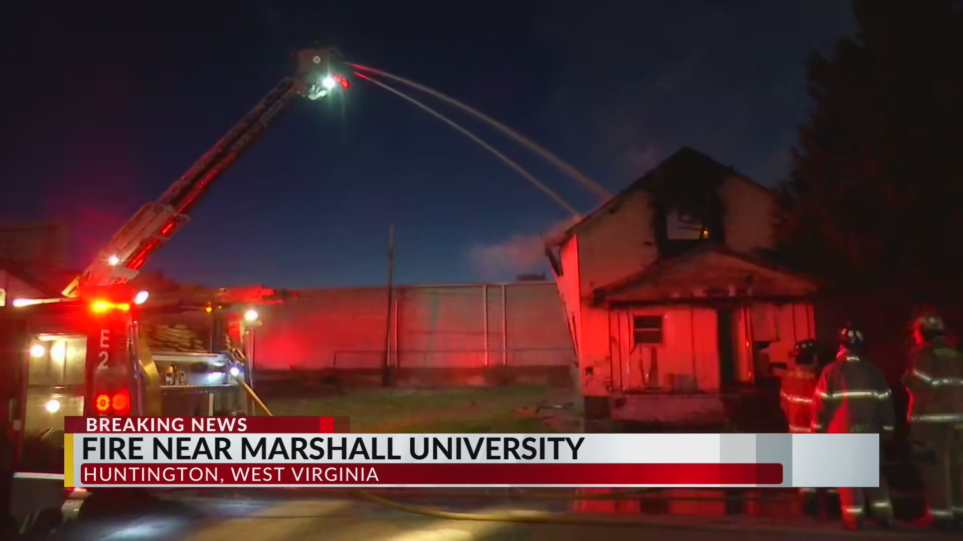 Firefighters Battle House Fire Near Marshall's Campus
