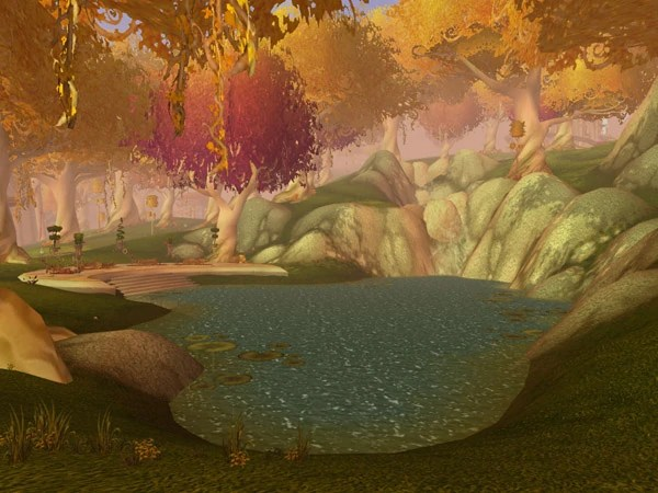 The outdated tree graphics used in Eversong Woods in World of Warcraft