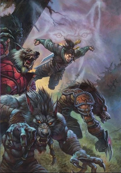 Art of Varian Wrynn battling alongside the Worgen in World of Warcraft: Wolfheart