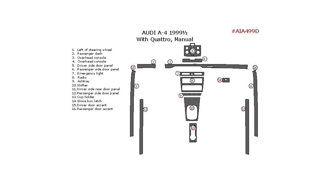 Audi A4 1999.5, Interior Kit, Manual, With Quattro, 16 Pcs.