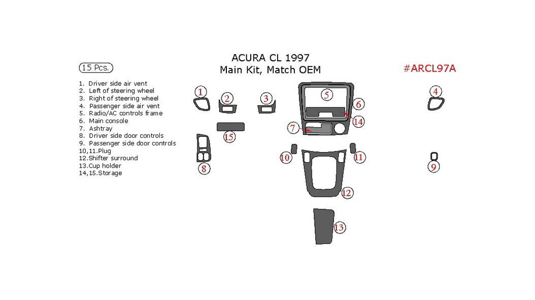 Acura CL 1997, Main Interior Kit, 15 Pcs., Match OEM