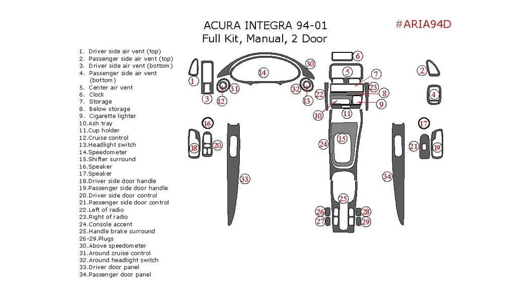 Acura Integra 1994-2001, 2 Door, Full Interior Kit, Manual