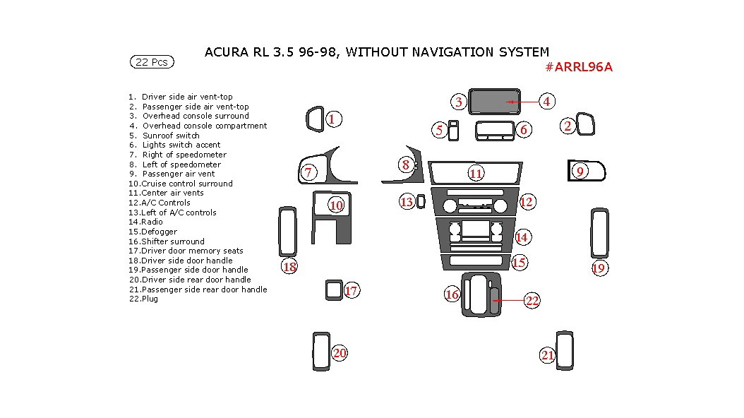 Acura RL 1996-1998, Interior Kit, Without Navigation