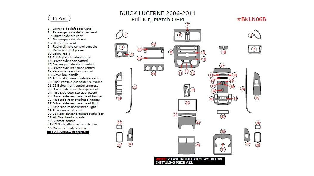 Buick Lucerne 2006-2011, Full Interior Kit, 46 Pcs., Match OEM